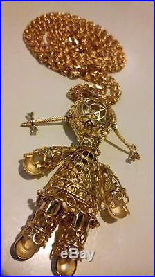 X-LARGE 9ct GOLD on 925 STERLING SILVER Articulated Movable RAGDOLL Necklace