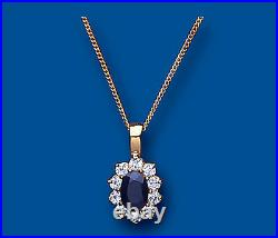 Yellow Gold Sapphire Pendant Cluster Necklace Hallmarked 18 Chain British Made